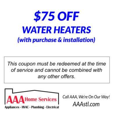$75 OFF WATER HEATER