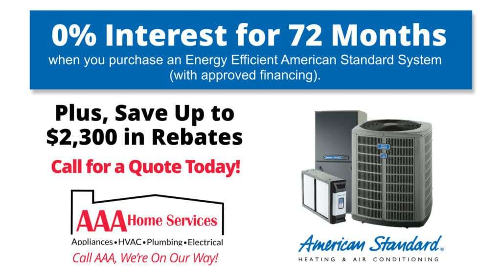 American Standard Offer of 0% Interest HVAC